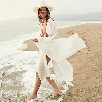 Alb Cover-up-uri Bikini Cover Up Femei Long Maxi Dress Solid V gât Doamnelor de vacanță Dress Robe Plage