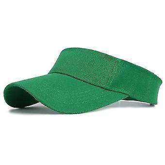 Gorra solar deportiva, visor de algodón ajustable protección uv sombrero de protección solar (verde)