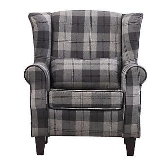 Tartan gepolsterter Sessel Holzbeine Einzelsofa