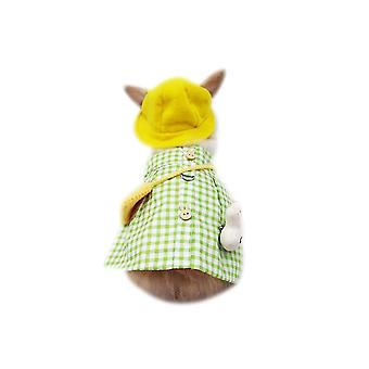 Pet Bunny Clothes Rabbit Guinea Pig Cute Costume Set(Green)