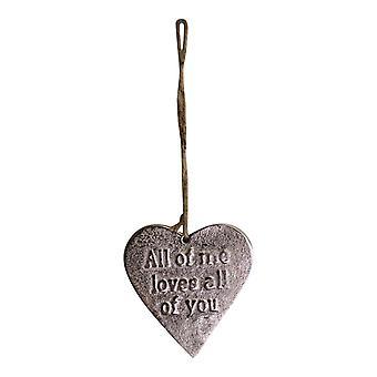 Kleines hängendes silbernes Herz mit Liebeszitat