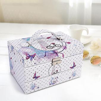 Travel Portable Leather Various Of Prints Three-layer Jewelry Storage Box