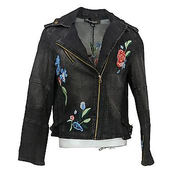 Colleen Lopez Women's Embroidered Denim Moto Jacket Blue 638366