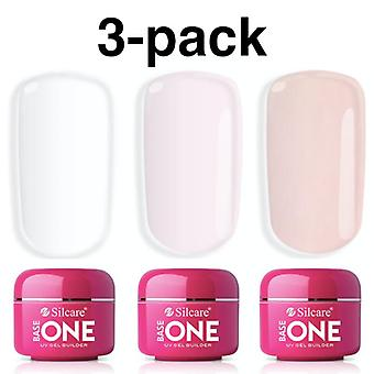 3-pack Base one - Builder - Clear, Pink, French pink 45g UV-gel