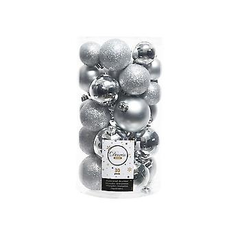 30 Silver Assorted Size Shatterproof Christmas Tree Bauble Decorations