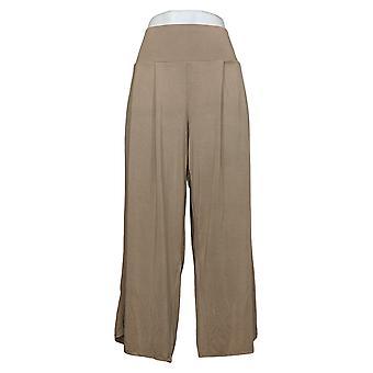 WynneLayers Women's Pants Pull-On Pleated Crop Palazzo Beige 758652