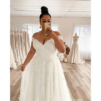 Brautkleid Plus Size A-Linie Off The Shoulder Lace Applique Tüll Rückenlos