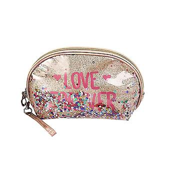 Cosmetic toiletry bags sequin makeup bag with interlayer 22x7.5X14cm gold