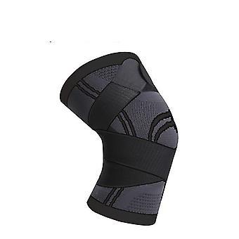 Sports pressurised knee protective brace pads(L)(Black)