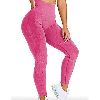 Frauen High Waist Yoga Hose Stretch Workout Leggings, S, Grau