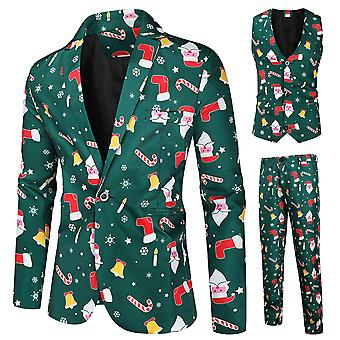 Mile Men's Christmas Print Three-piece Single-breasted Suit (single West + Vest + Trousers) Dark Green