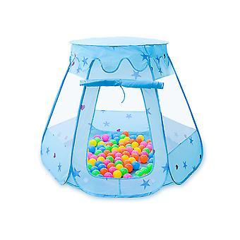Caraele Kinderspielzelt, faltbares Sechseck Schlossspielzelt für Kinder drinnen und draußen, mit Reißverschluss Aufbewahrungstasche, rosa, blau