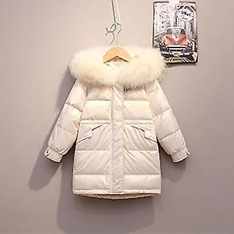 Fehér gyermek hosszú kabát őszi / téli szezon meleg kabát