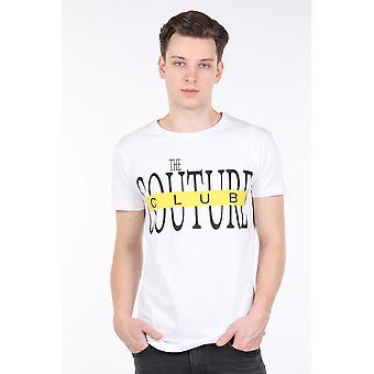 Menn Hvit Couture Trykt Crew Neck T-skjorte