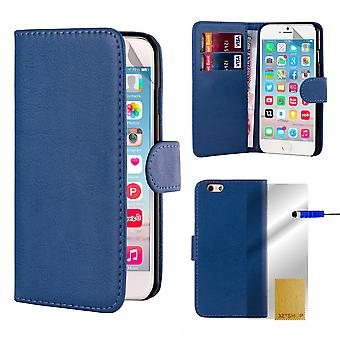 32nd Book Wallet Leather Case + stylus for Apple iPhone 6 6S - Deep Blue