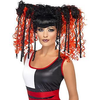 Goth emo parykk røde damer Halloween Jackie i en boks