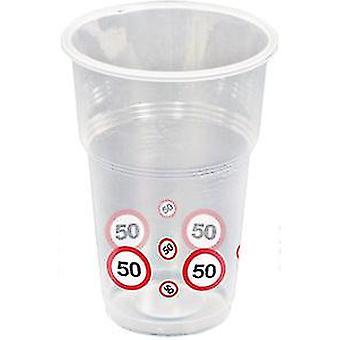 Coppa 10 pz traffico segno numero 50 compleanno boccale 350 ml