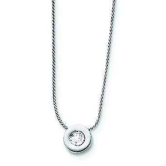 925 Sterling Silber solide poliert CZ Zirkonia simuliert Diamant Charme auf Kette Halskette 16 Zoll Frühling Ring Juwel