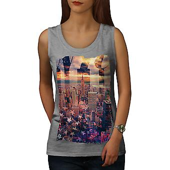 Maisema kuva New York naisten GreyTank Top | Wellcoda