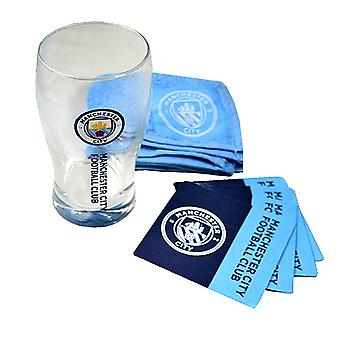 Manchester City FC Official Wordmark Mini Football Bar Set (Pint Glass, Towel & Beer Mats)