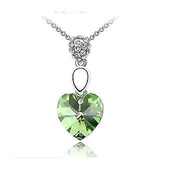 Womens grön ädelsten kedja Crystal Heart halsband hängande smycken