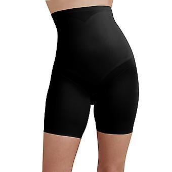 Cupid 2179-E Women's Black Solid Colour Firm/Medium Control Slimming Shaping High Waist Long Leg Brief