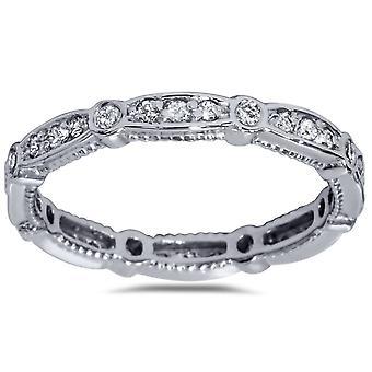 3/8ct Diamond Eernity Vintage Wedding Stackable Ring 14K White Gold