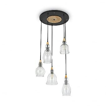 Ideal Lux Gretel Modern Black And Gold Clear Shade Large Cluster 5 Light