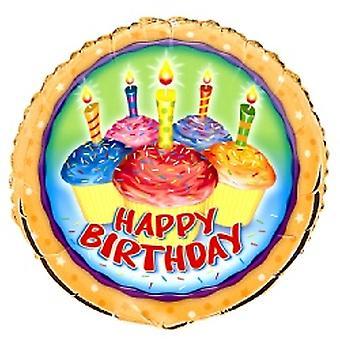 Ballon feuille Joyeux anniversaire Cup Cakes