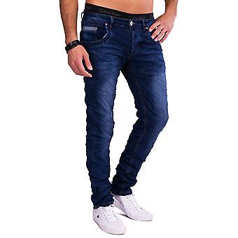 Mens Blue Jeans Jeansnet Slim Fit Denim Crinkle Style Five Pocket Colored