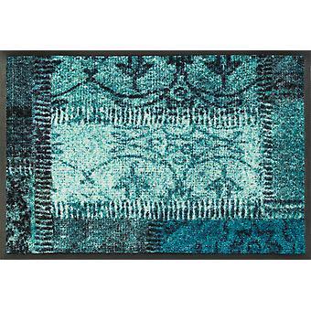 laver + sécher mat de saleté des patches vintage turquoise tapis lavable