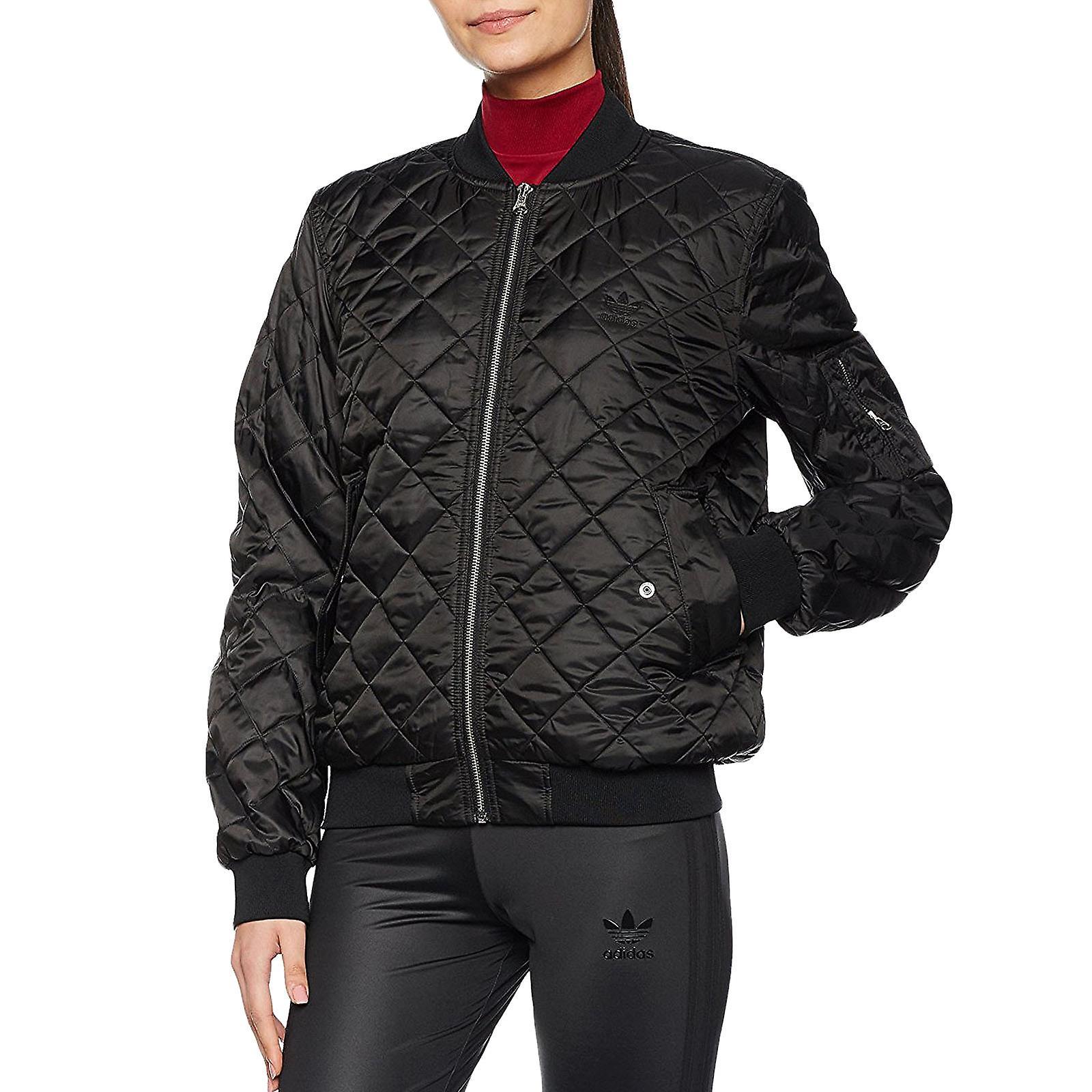Gezippt Damen Gesteppte Bomber Originals Schwarz Jacke Adidas Gepolsterte Mantel E9HIYWD2