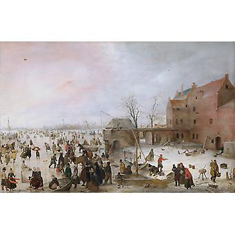 A Scene on the Ice Near a Town, Hendrick Avercamp, 60x40cm