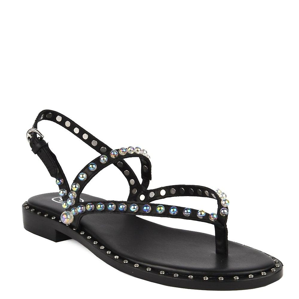 Ash PEARL Sandals Black Leather & Silver Studs