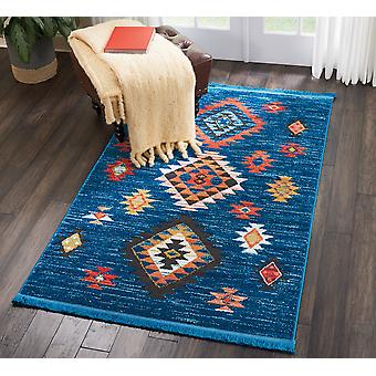 Navajo Nourison NAV07 Blue  Rectangle Rugs Traditional Rugs