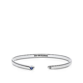 New York Islanders Engraved Sterling Silver Sapphire Cuff Bracelet