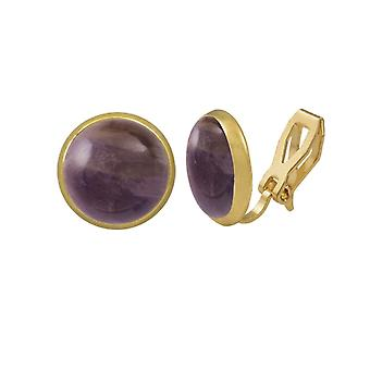 Eternal Collection Symphony Amethyst Gold Stud Clip On Earrings