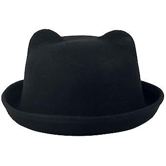 Heartless - kitty bowler hat - black