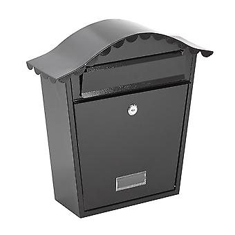 Wall Mounted Black Post Box - Secure Outdoor Lockable Mailbox Letterbox & 2 Keys