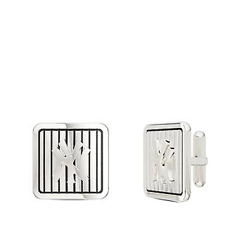 New York Yankees Pinstripe Logo Squared Cuff Links In 14K Rose Gold