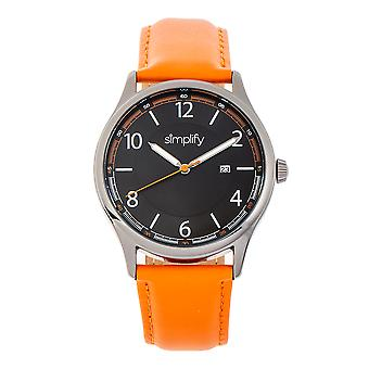 Simplify The 6900 Leather-Band Watch w/ Date - Orange