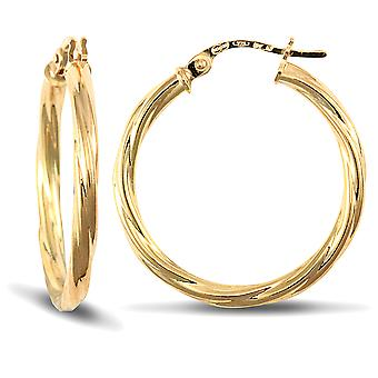 Jewelco London Ladies 9ct Yellow Gold Twisted 2.5mm Hoop Earrings 25mm
