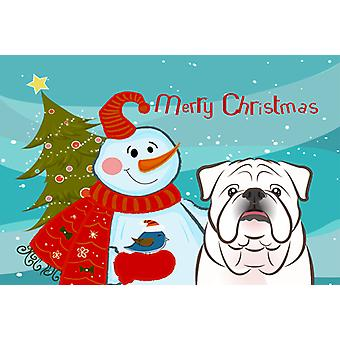 Snowman with White English Bulldog  Fabric Placemat