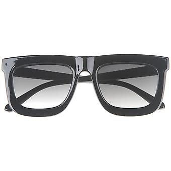 High Fashion Arrow Accented Horn Rimmed Flat Lens Bold Square Sunglasses 65mm
