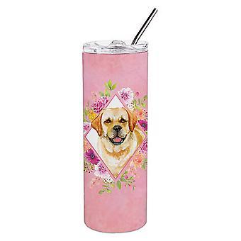Golden Retriever roze bloemen dubbelwandige RVS 20 oz mager tuimelaar