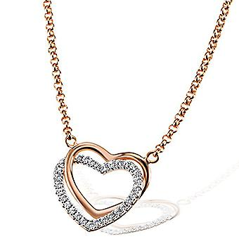 Goldmaid - Sterling 925 silver heart-shaped women's necklace oxidized with zircons