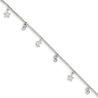 925 Sterling Silver Fancy Lobster Closure Polished Bead Star and Celestial Moon With 1inch Ext. Anklet 9 Inch Jewelry Gi