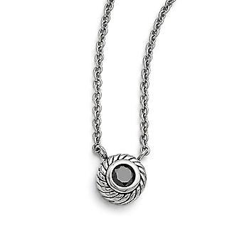 Edelstahl Fancy Hummer Verschluss poliert schwarz CZ Zirkonia simuliert Diamant Kreis mit 1 Zoll Ext. Halskette