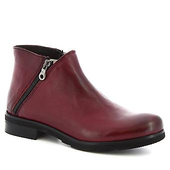 Leonardo Shoes Women's handmade ankle boots in burgundy calf leather two zips