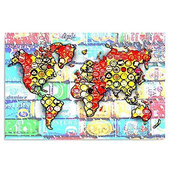 Canvas, Immagine su tela, Composizione con una mappa del mondo 2